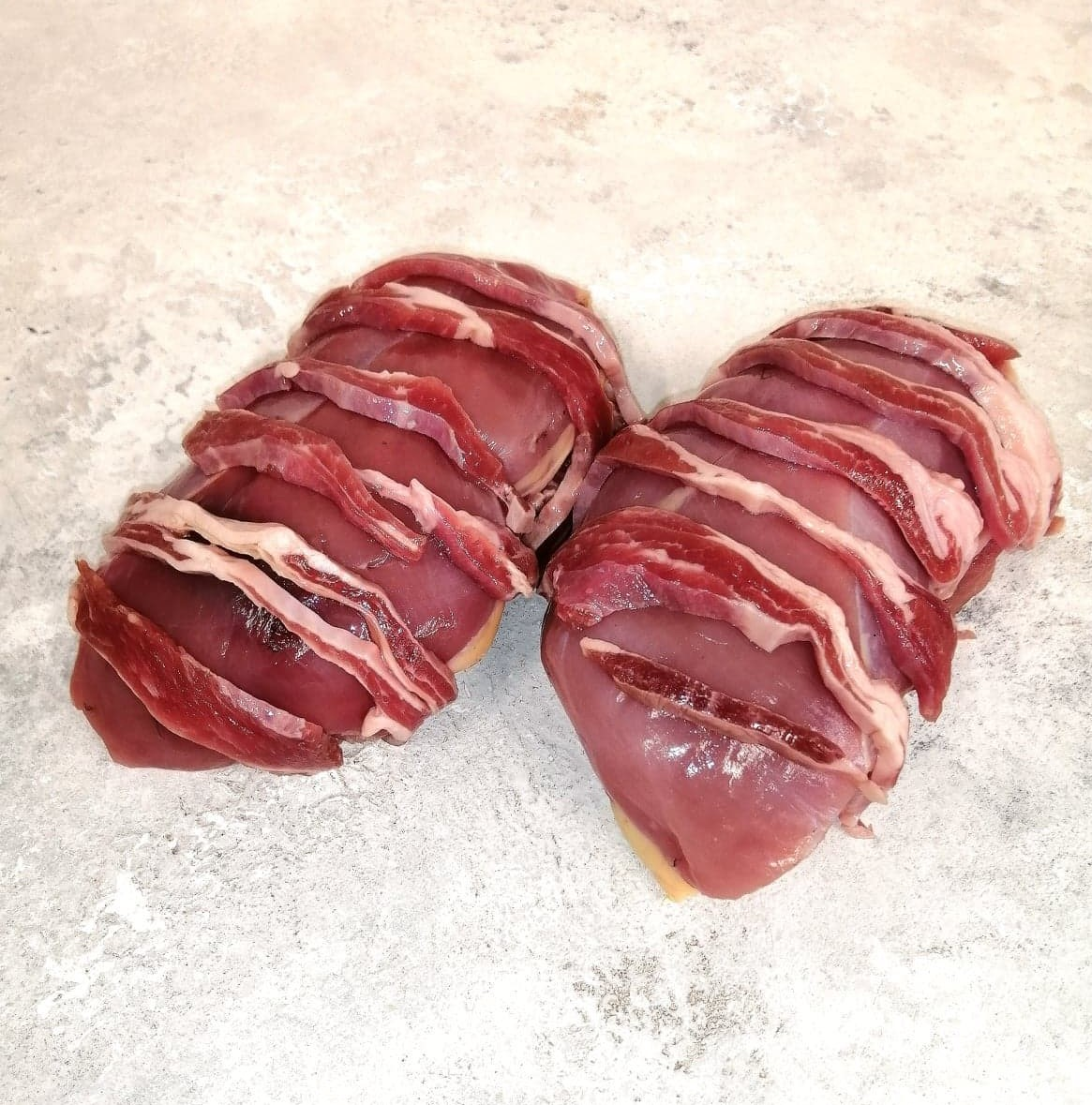 Stuffed Pheasant Breasts Wrapped In Smoked Bacon