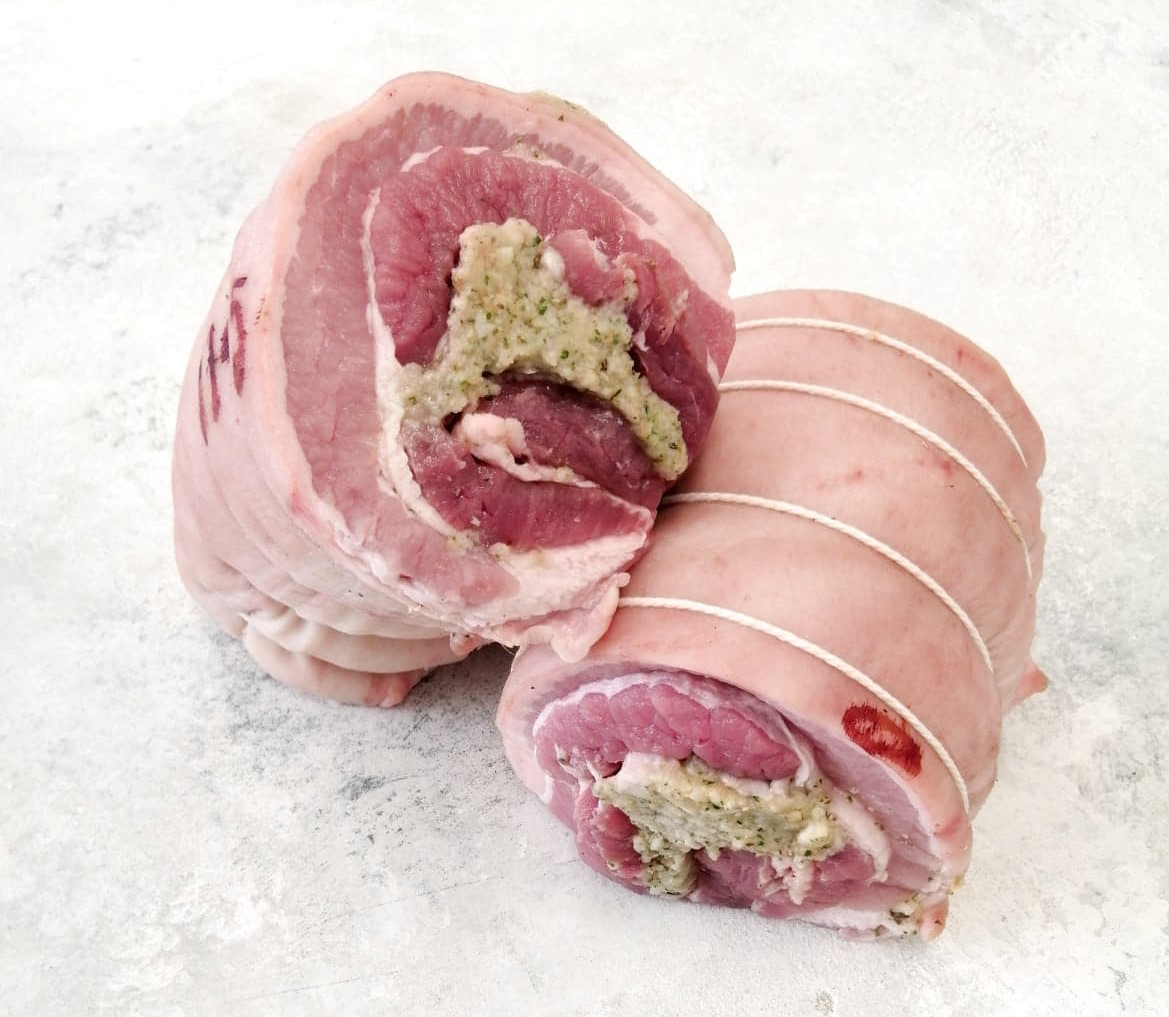 Cranberry, Apple And Rosemary Gluten Free Stuffed Belly Pork Joint